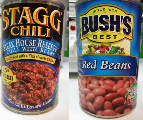 Stagg Steakhouse Chili and Bush's Red Beans