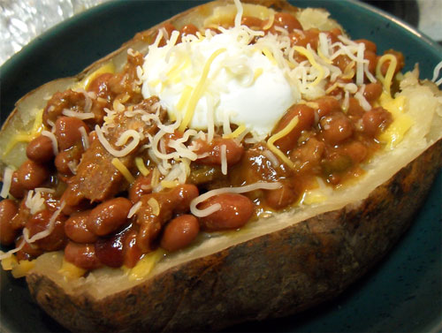 Chili-topped slow cooker baked potato