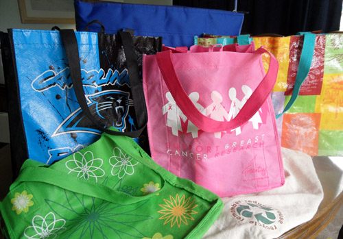 Some of my many reusable bags